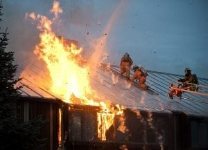 fire suppression techniques on a roof